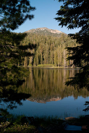 Brokeoff Mountain reflected in Heart Lake, Lassen National Forest