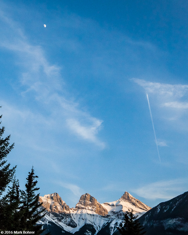 Moonrise over the mountains, Canmore