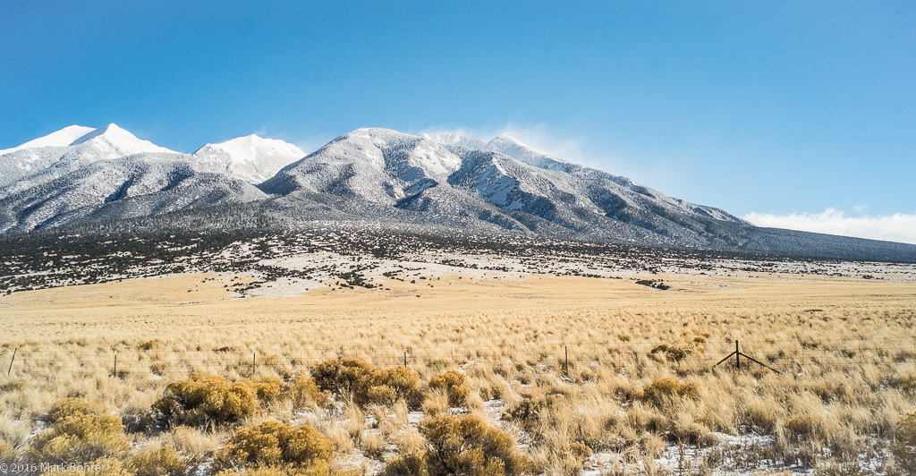 7 degree view of the Sangre de Cristos near Great Sand Dunes, Colorado