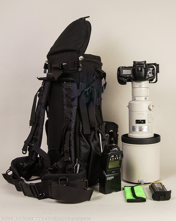 Kinesis Gear L511 long lens case with backpack straps, EOS 1D on EF 500mm f/4L IS