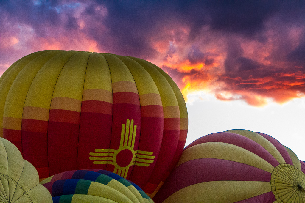 Sunrise colors on the ground and in the clouds - Albuquerque International Balloon Fiesta