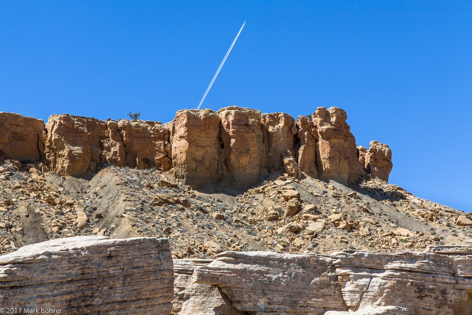 Contrails above the mesa - Ojito Wilderness