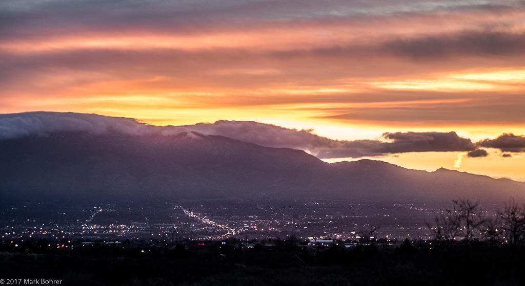 Albuquerque sunrise from Mesa Prieta, Petroglyph National Monument