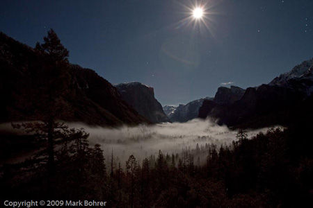 Wawona Tunnel View - full-moon foggy December, Yosemite