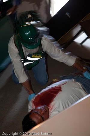Saratoga CERT volunteer at West Valley College / Saratoga disaster preparedness exercise