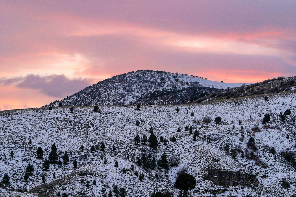 winter sunrise at Hardware Ranch Wildlife Management Area, Utah