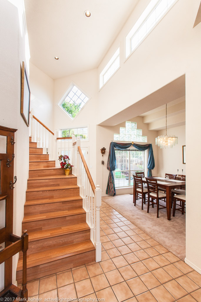 Stairs and dining room