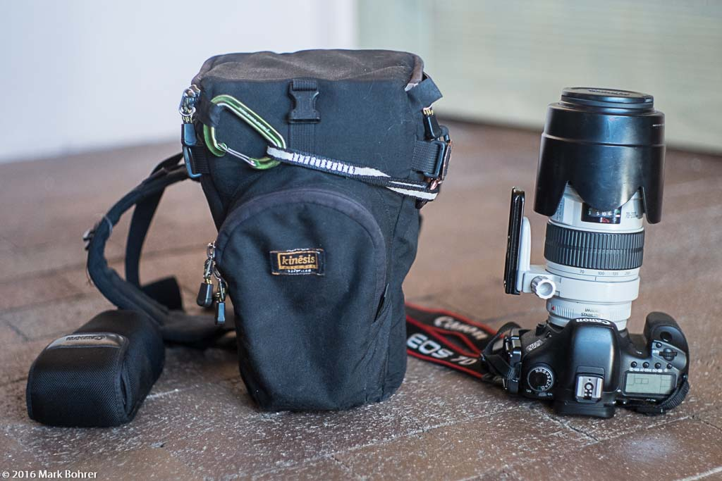 Kinesis Gear holster case, EF 70-200mm f/2.8L IS, EOS 7D, 430EX flash in case
