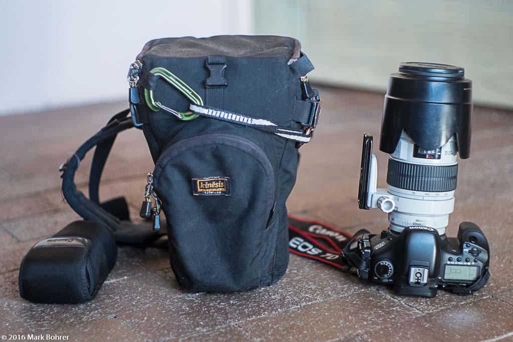 Kinesis Gear holster case, EF 70-200mm f/2.8L IS, EOS 7D, 430EX flash in case