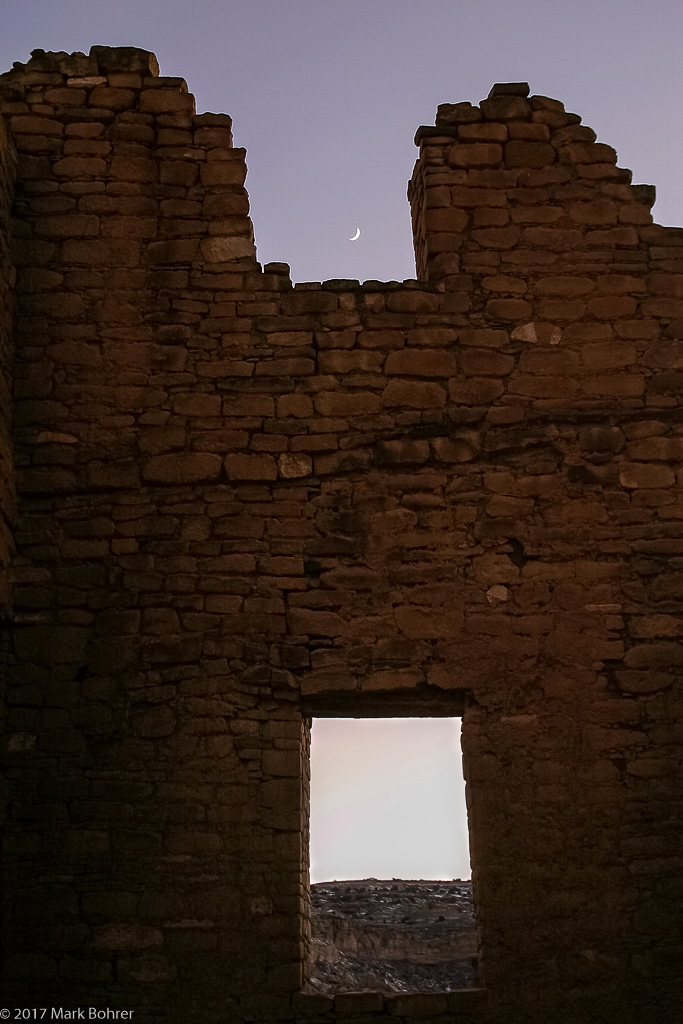 Kin Kletso and moon, Chaco Canyon