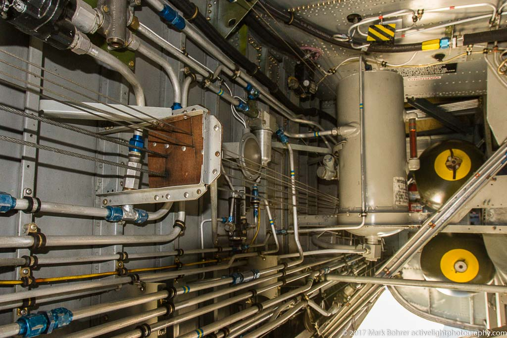 B-24J bomb bay - gas and hydraulic lines