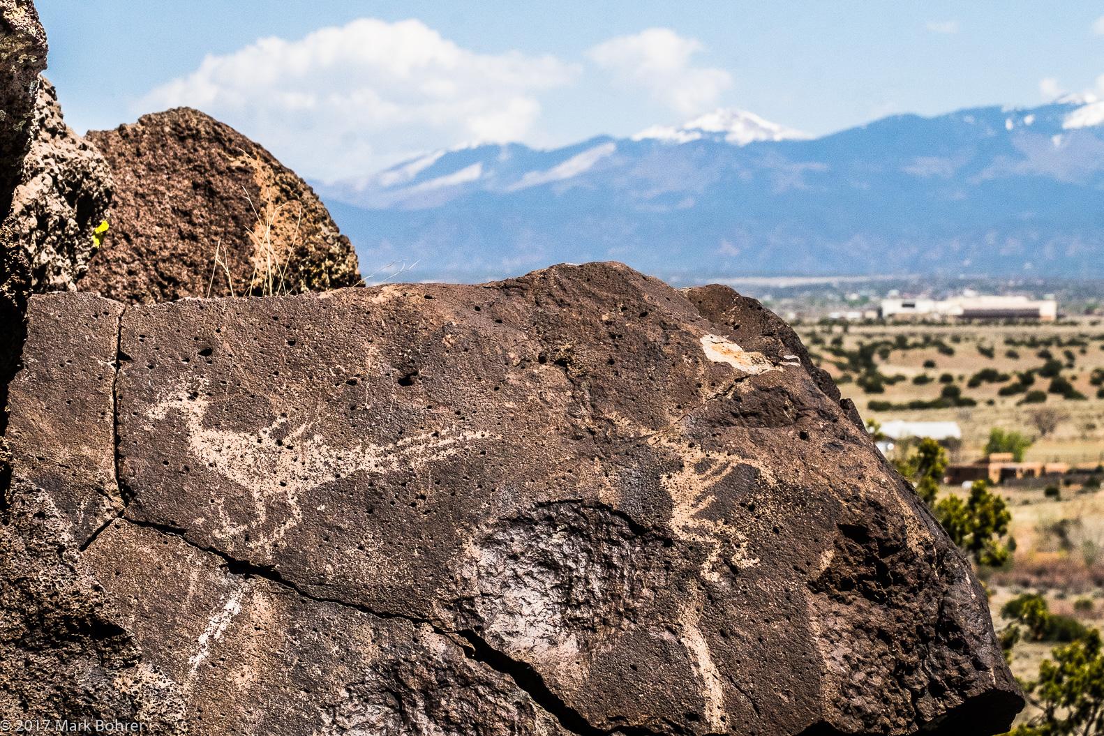Sangre de Cristo backdrop - La Cieneguilla Petroglyph Site
