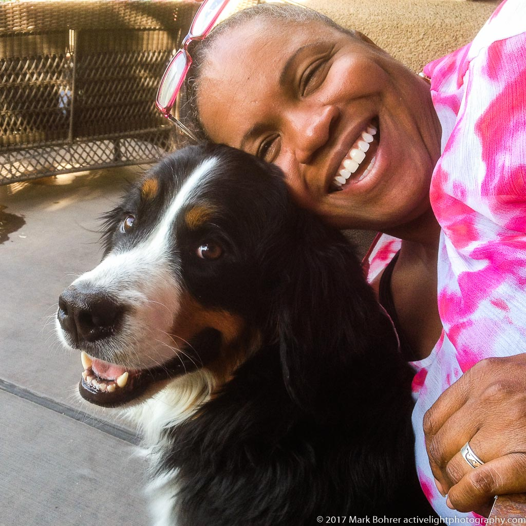 Daisy smiles with Pat, 2014