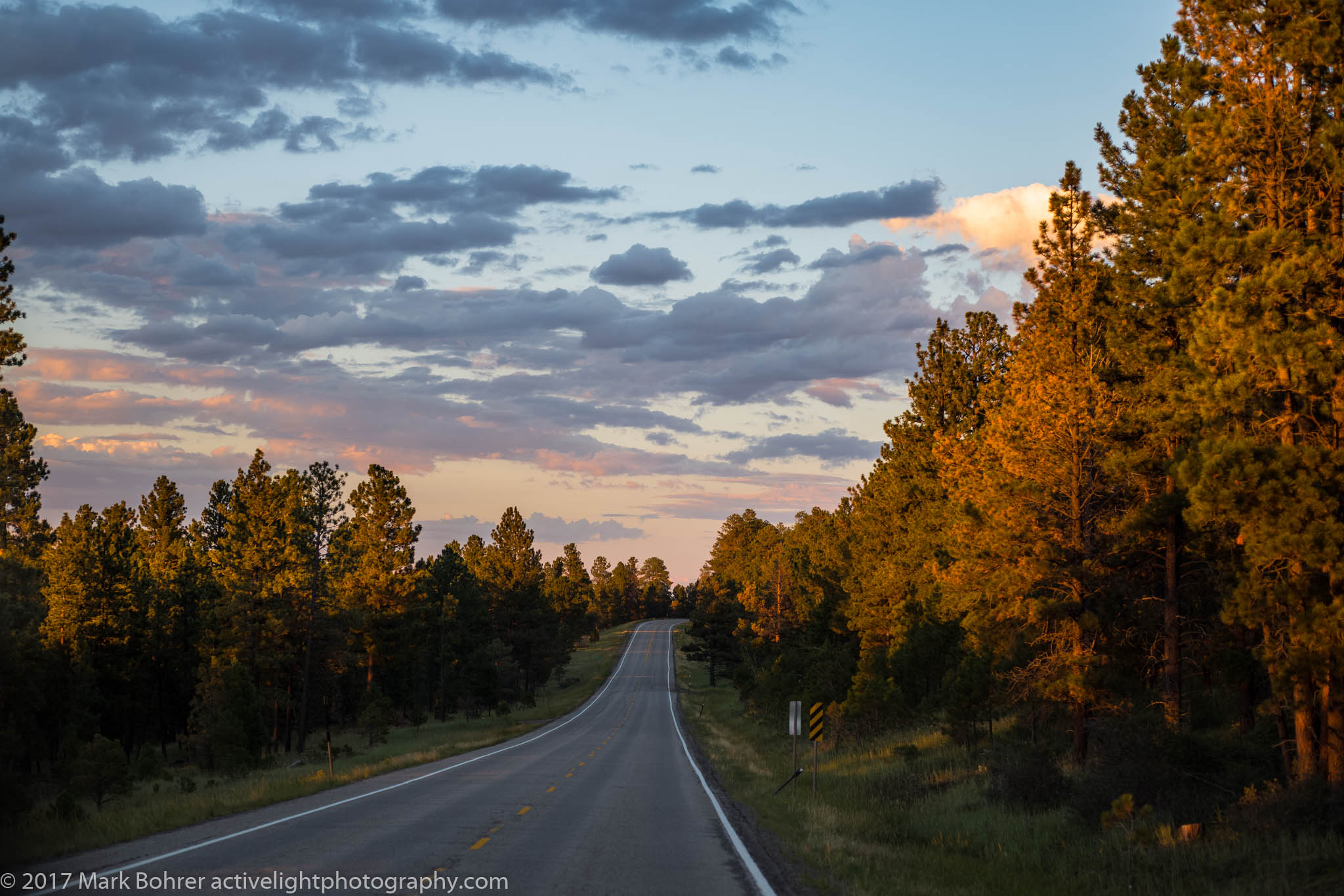 Departing sunset on the road from Red Canyon, Flaming Gorge