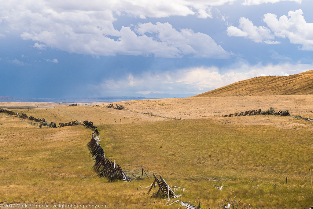 Fencing and clearing storm, Fossil Butte