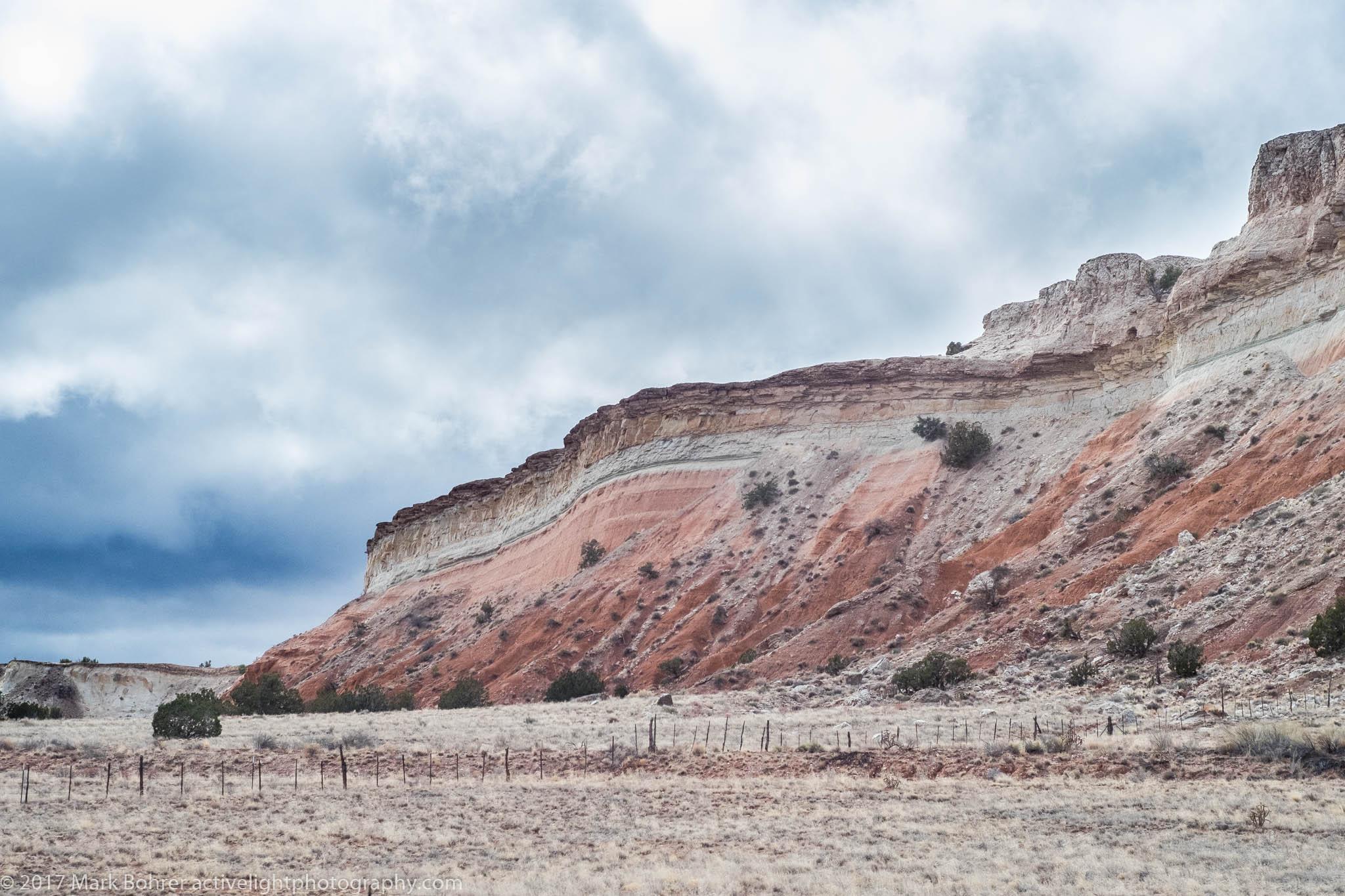 Desert landscape on US 550 near Cabezon Peak, New Mexico