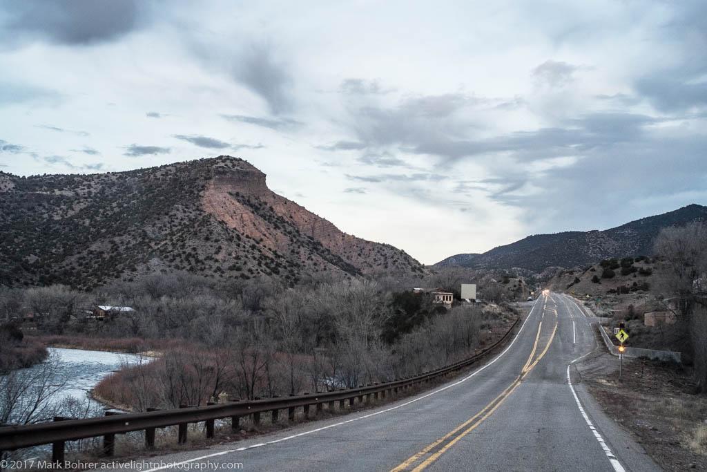 The road to Taos near Pilar, New Mexico