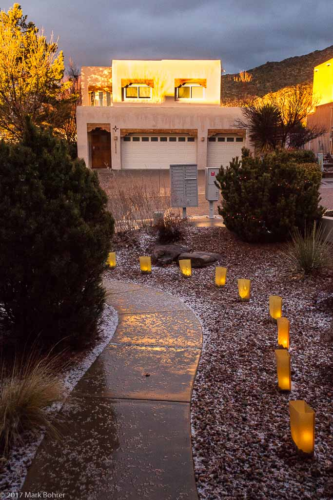 Clearing hail storm and sunset light, Albuquerque, New Mexico