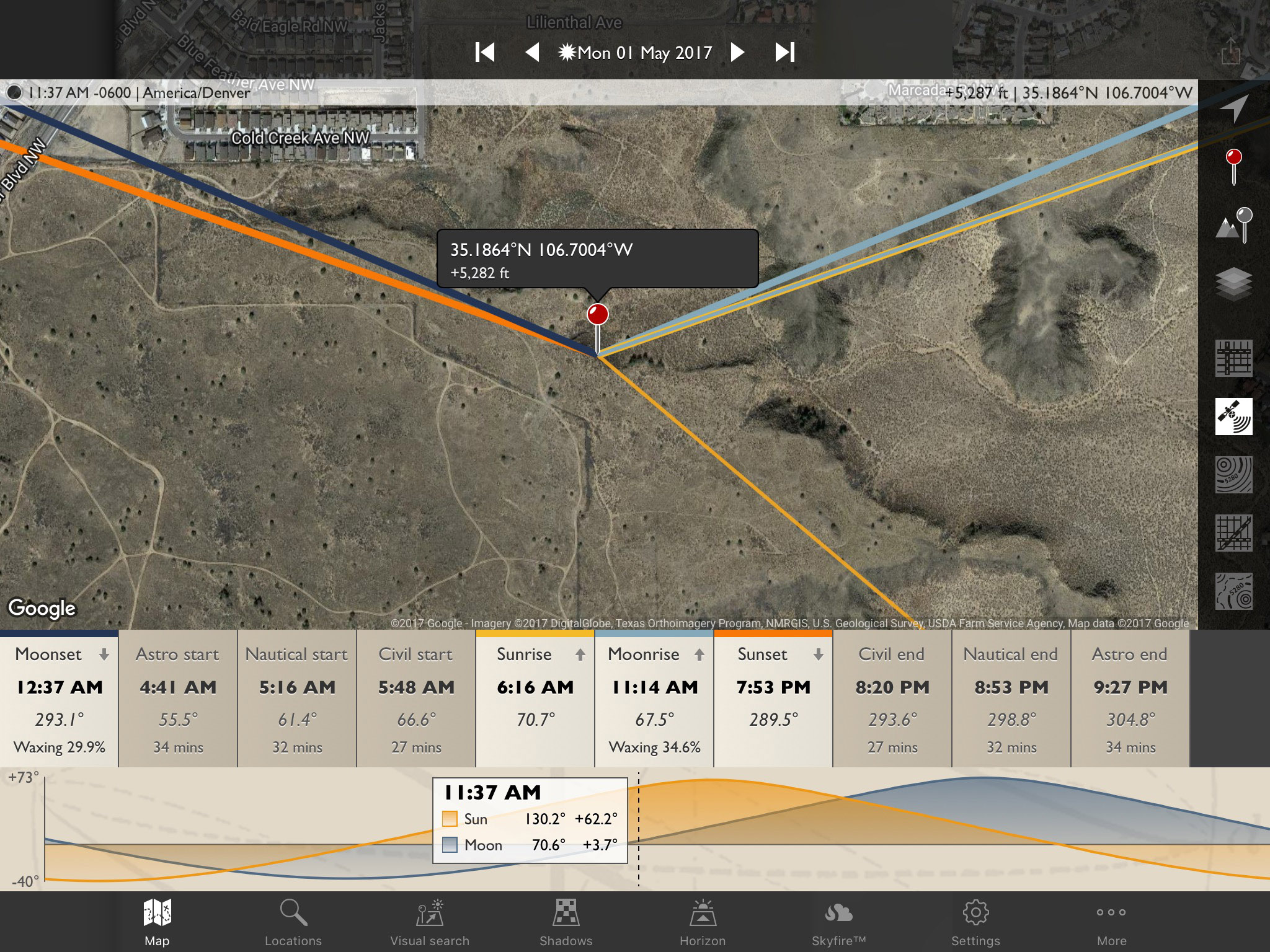 The Photographer's Ephemeris map view - Mesa Prieta, Petroglyph National Monument
