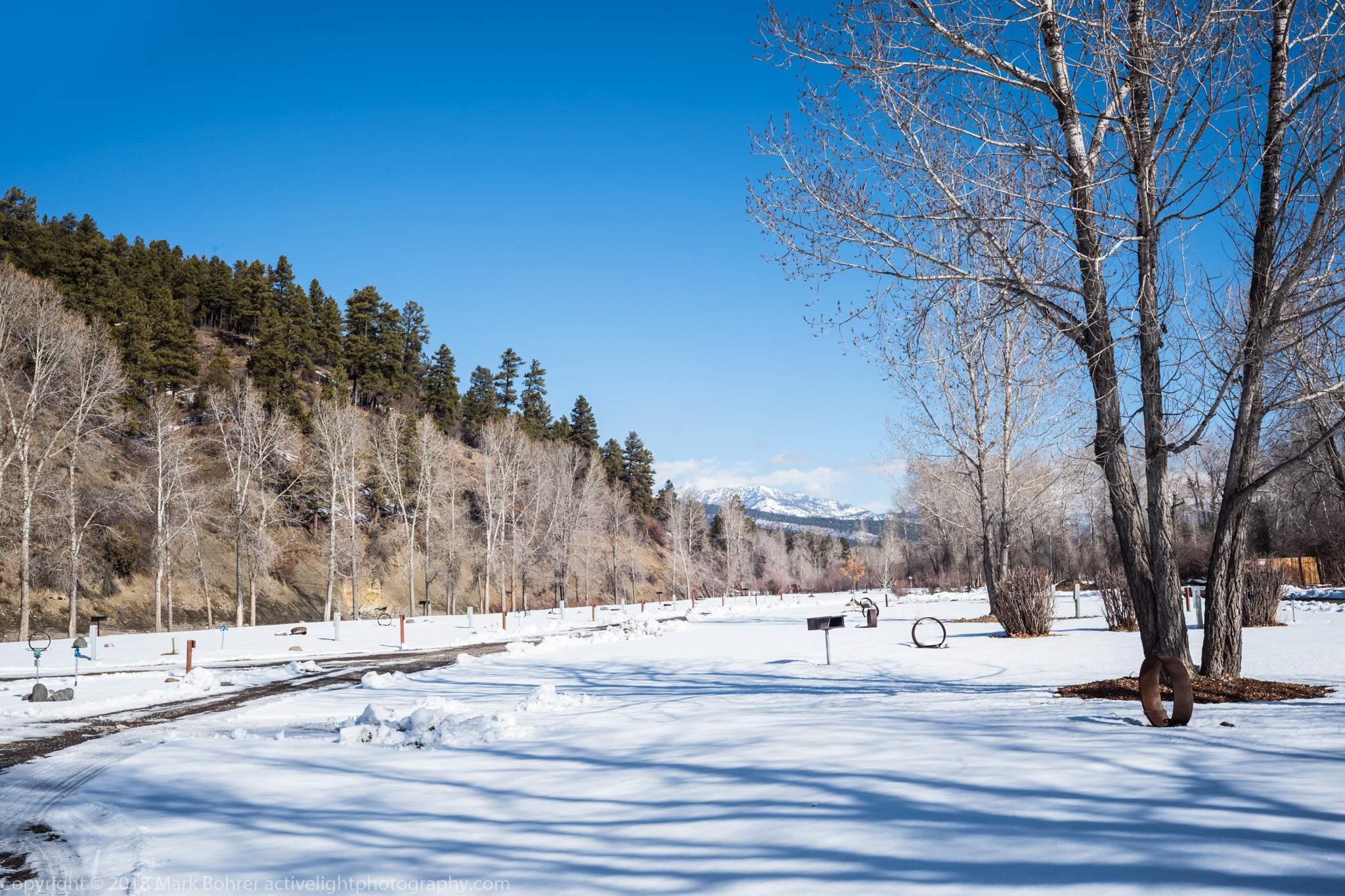 A snowy February day at Pagosa Riverside Campground