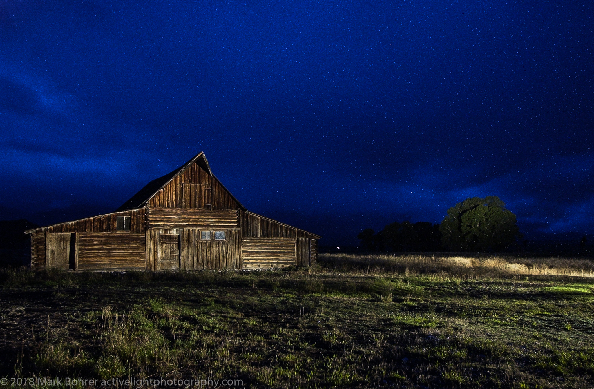 Light-painted barn, Jackson, WY