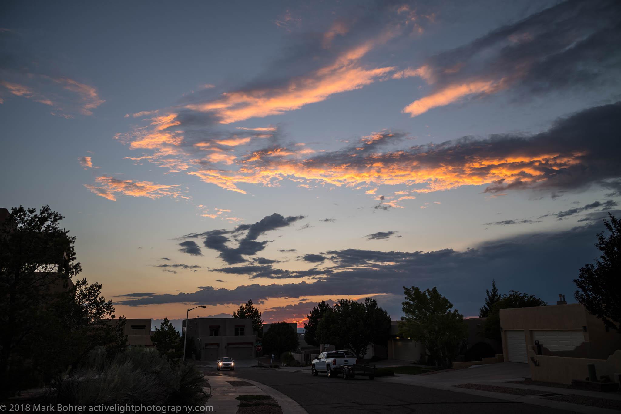 Sunset light in the neighborhood - slight corner darkening (vignetting)