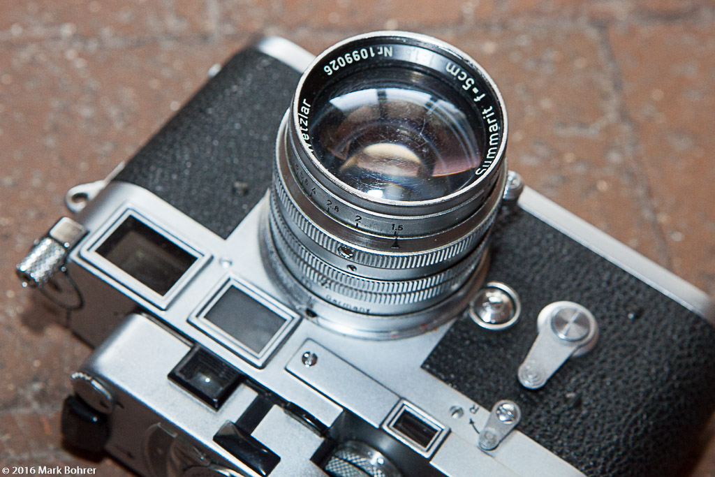 50mm f/1.5 Summarit - note scratched coating from over-zealous cleaning