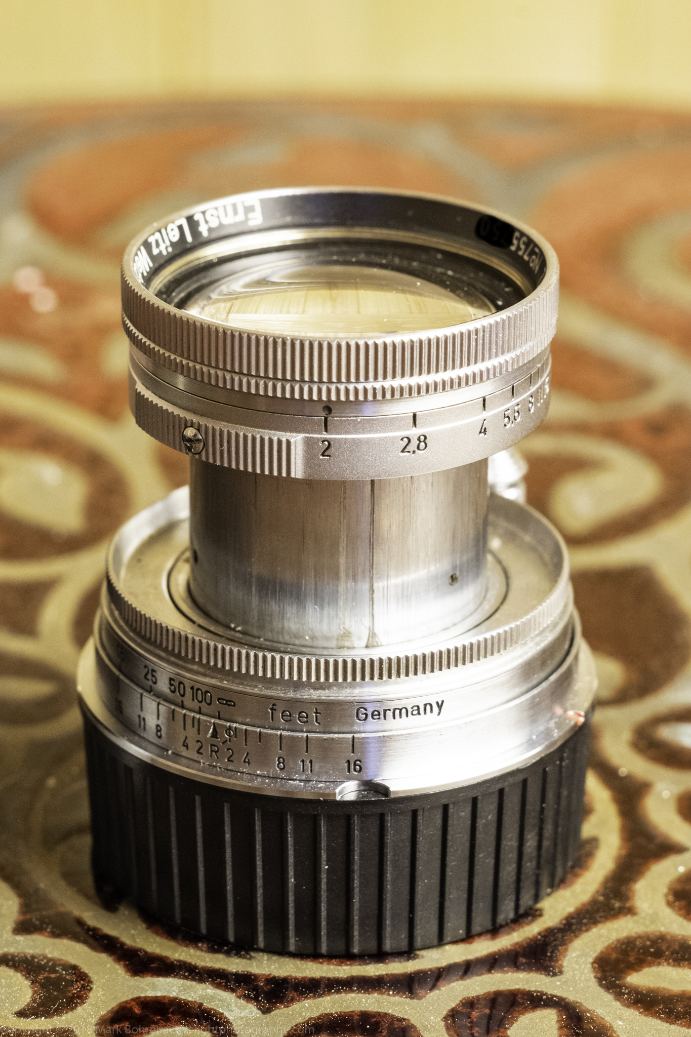 50mm f/2 Summitar from 1949 - dust and scratches on the barrel, but a vintage bargain
