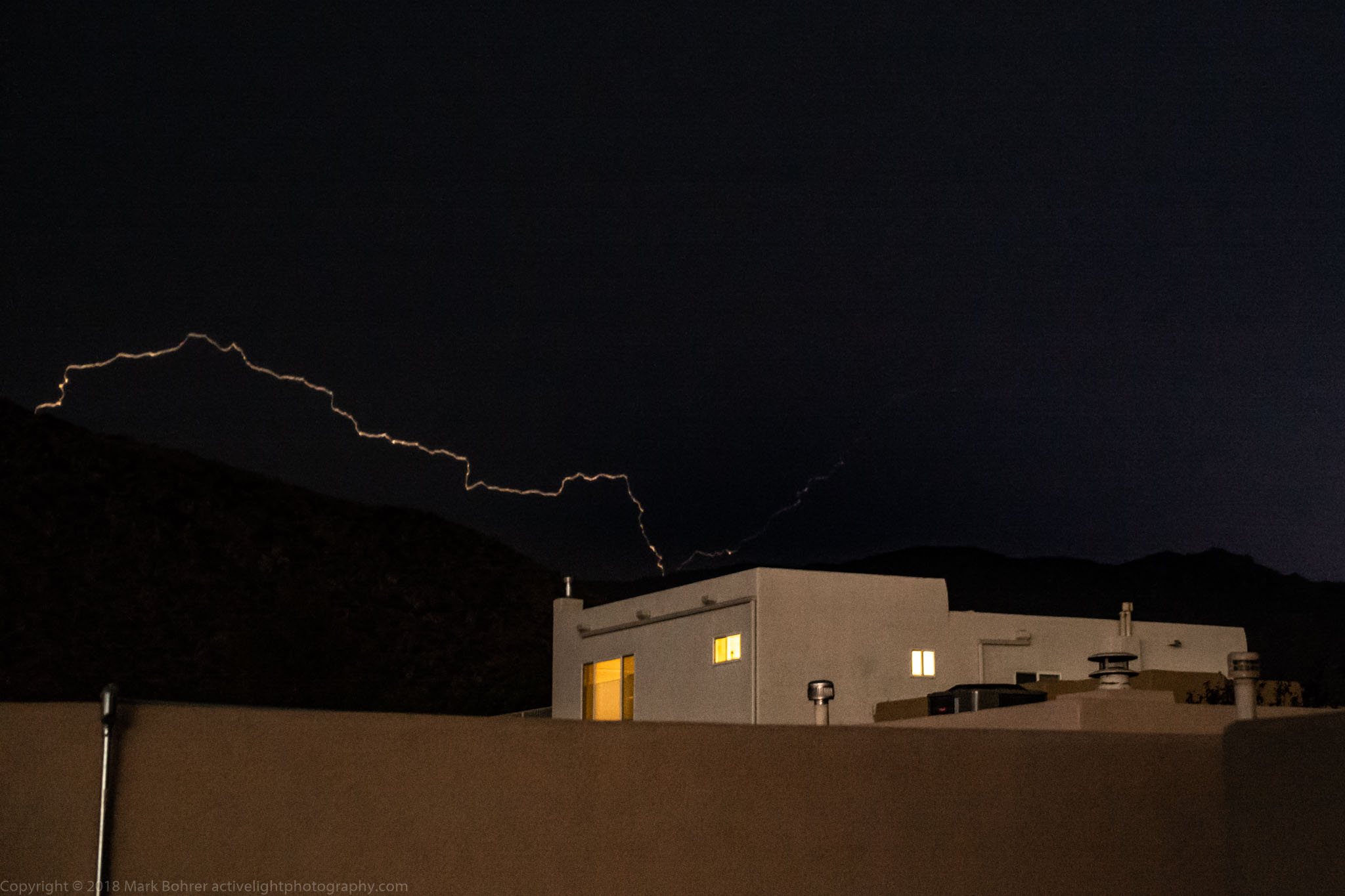 Eyeball-detected lightning capture - Kachina Hills, Albuquerque, New Mexico