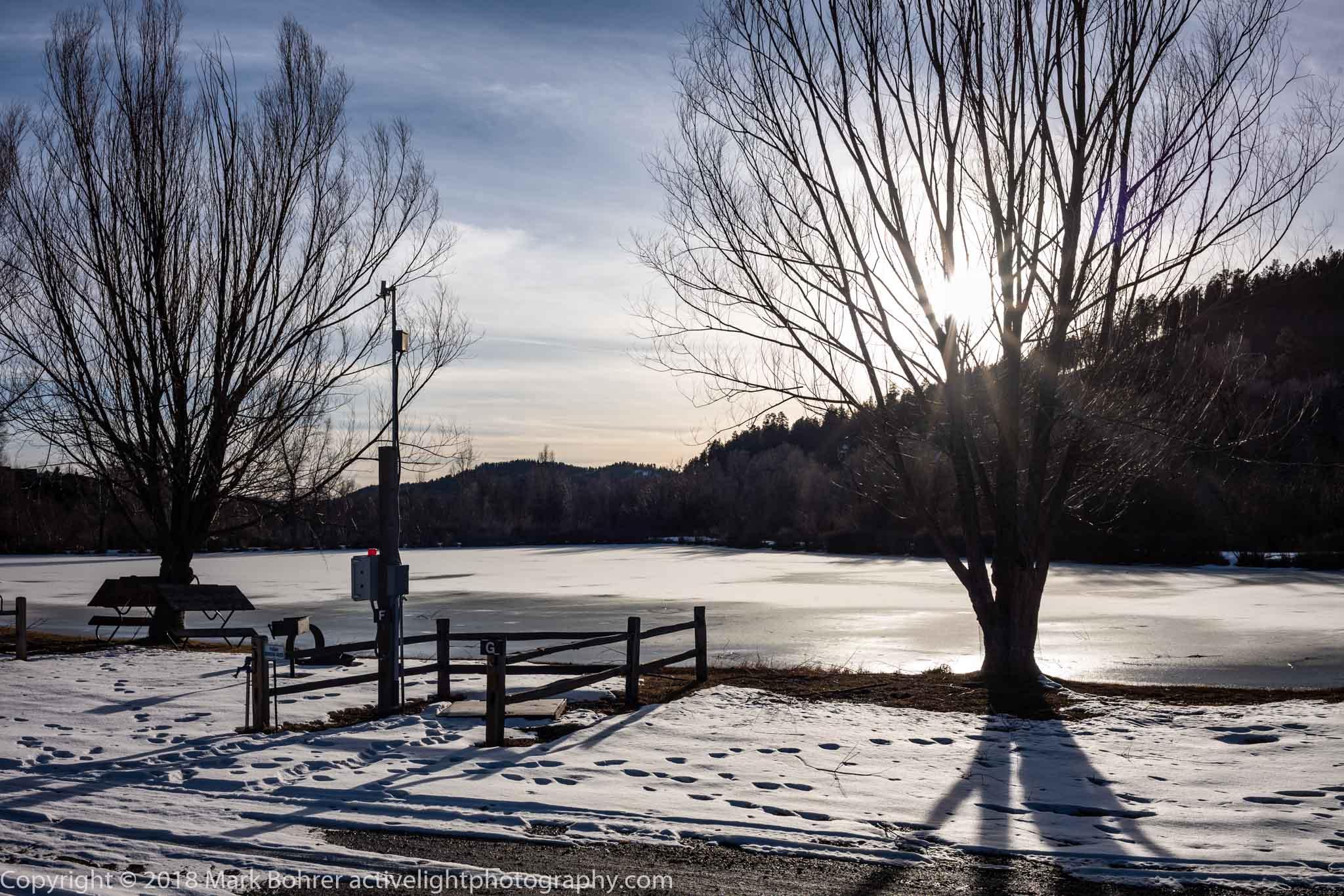 Frozen lake, Pagosa Riverside Campground, Colorado