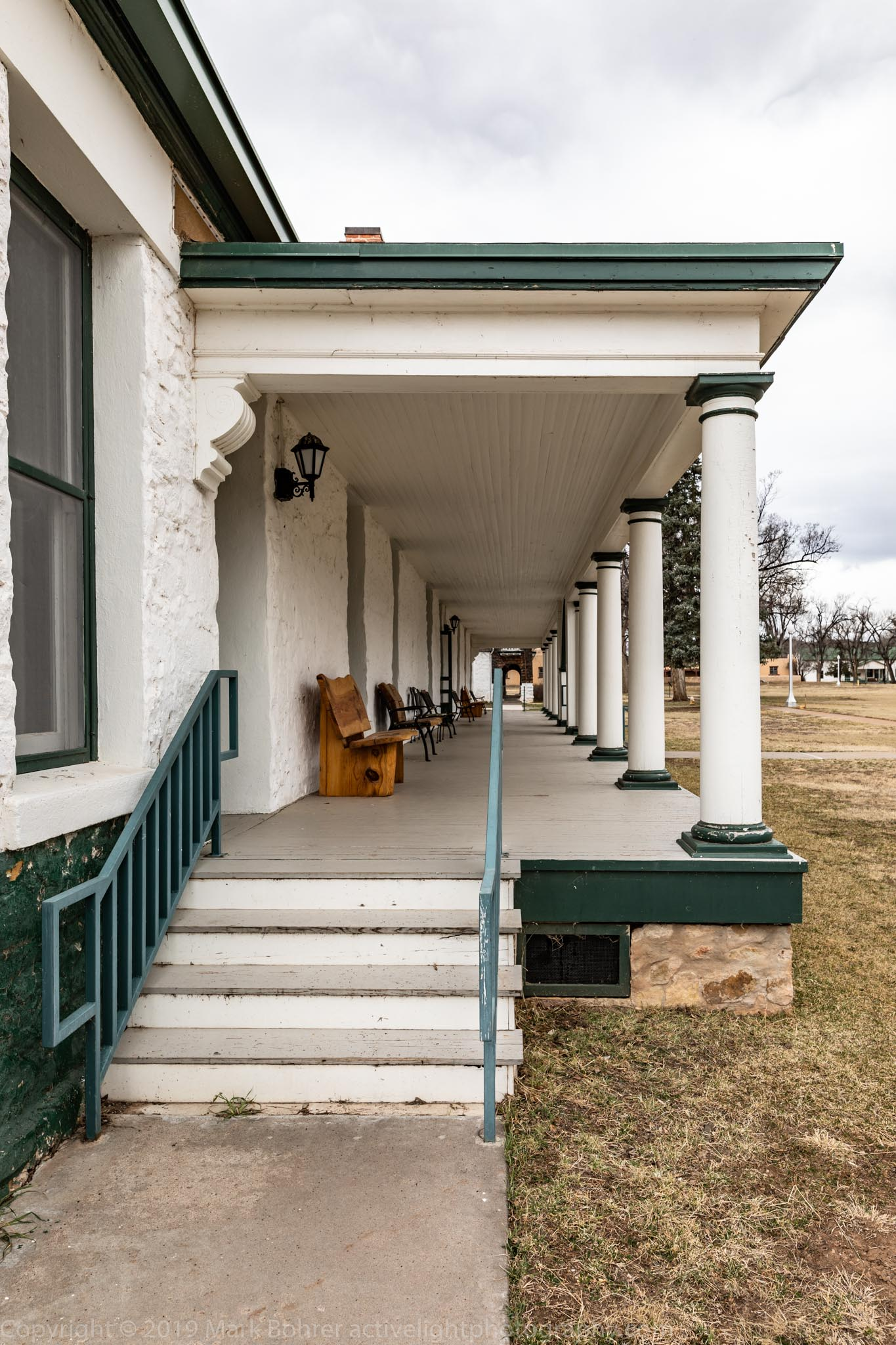 Porch, Fort Stanton. TB patients sat out here in all weather for fresh air, thought to help with the disease.